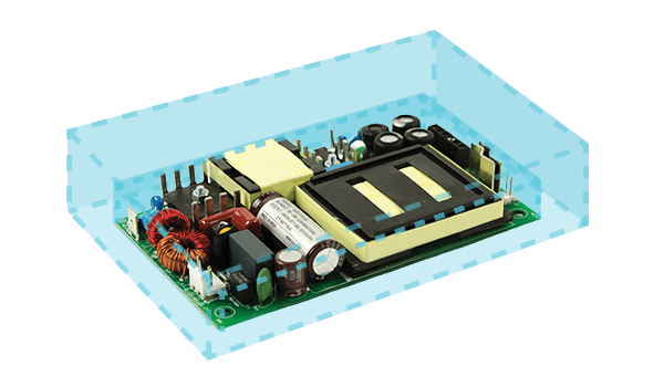 High Density Ac-Dc Power Supplies Housed in Low Profile, Open Frame Packages